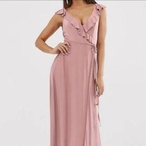 ASOS Ruffle Wrap Maxi Dress / Bridesmaid